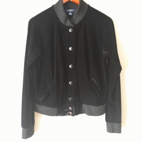 Chaps Stretch Velour Bomber Jacket